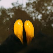 stock photography Yellow rubber boots in the water.