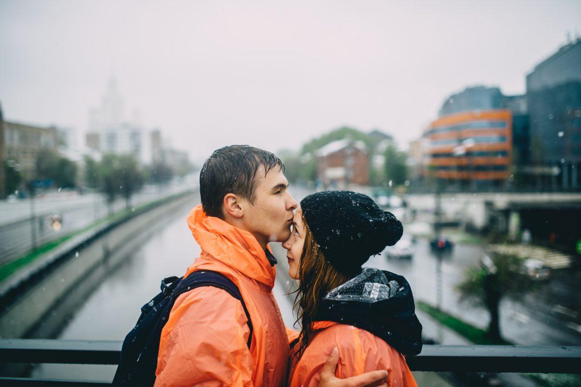 stock photography couple under the rain