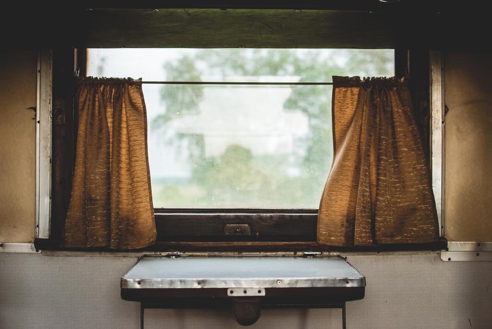 stock photo old train window