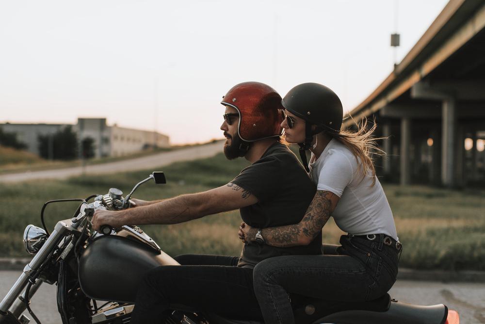 stock photo couple bike riding