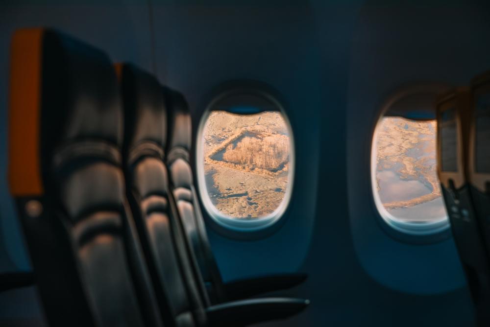 stock photo airplane window