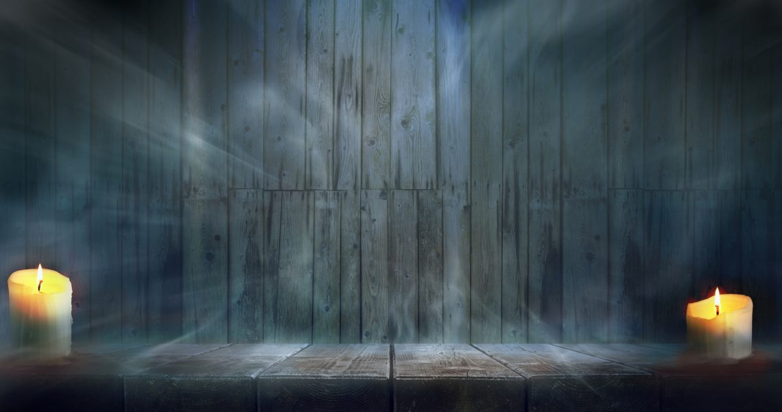 Halloween night wooden table and wall background