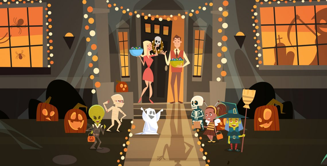 Kids Wearing Monsters Costumes stock illustration
