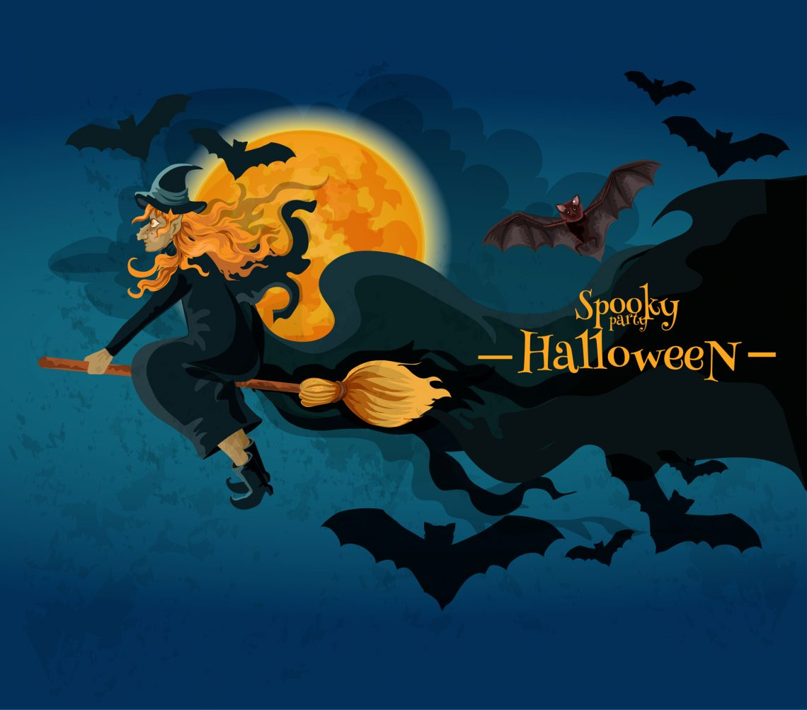 Halloween greeting card with cartoon witch character