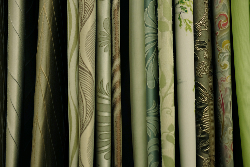 rolls of fabric stock photography