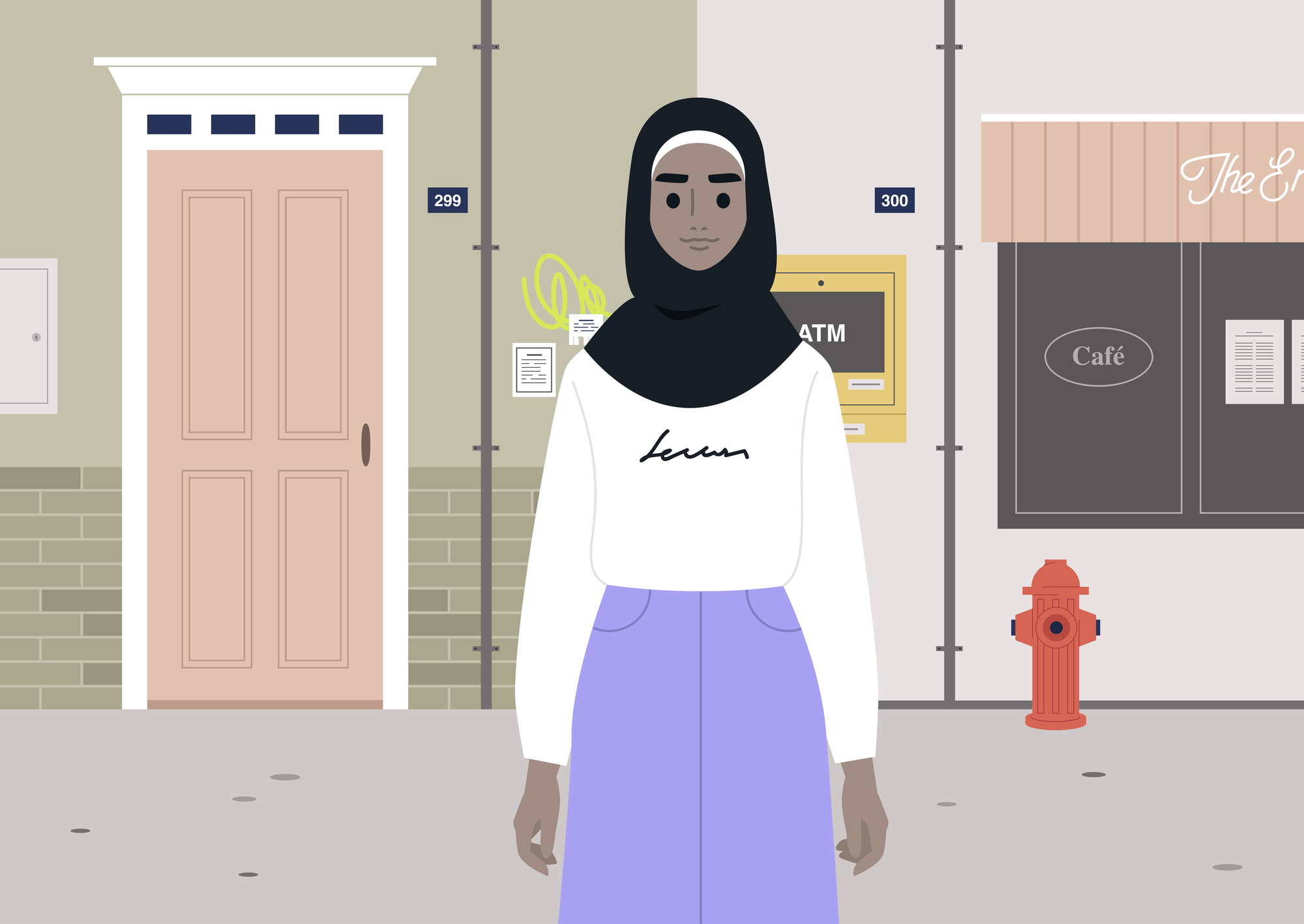 A portrait of a modern young lady wearing a hijab stock illustration