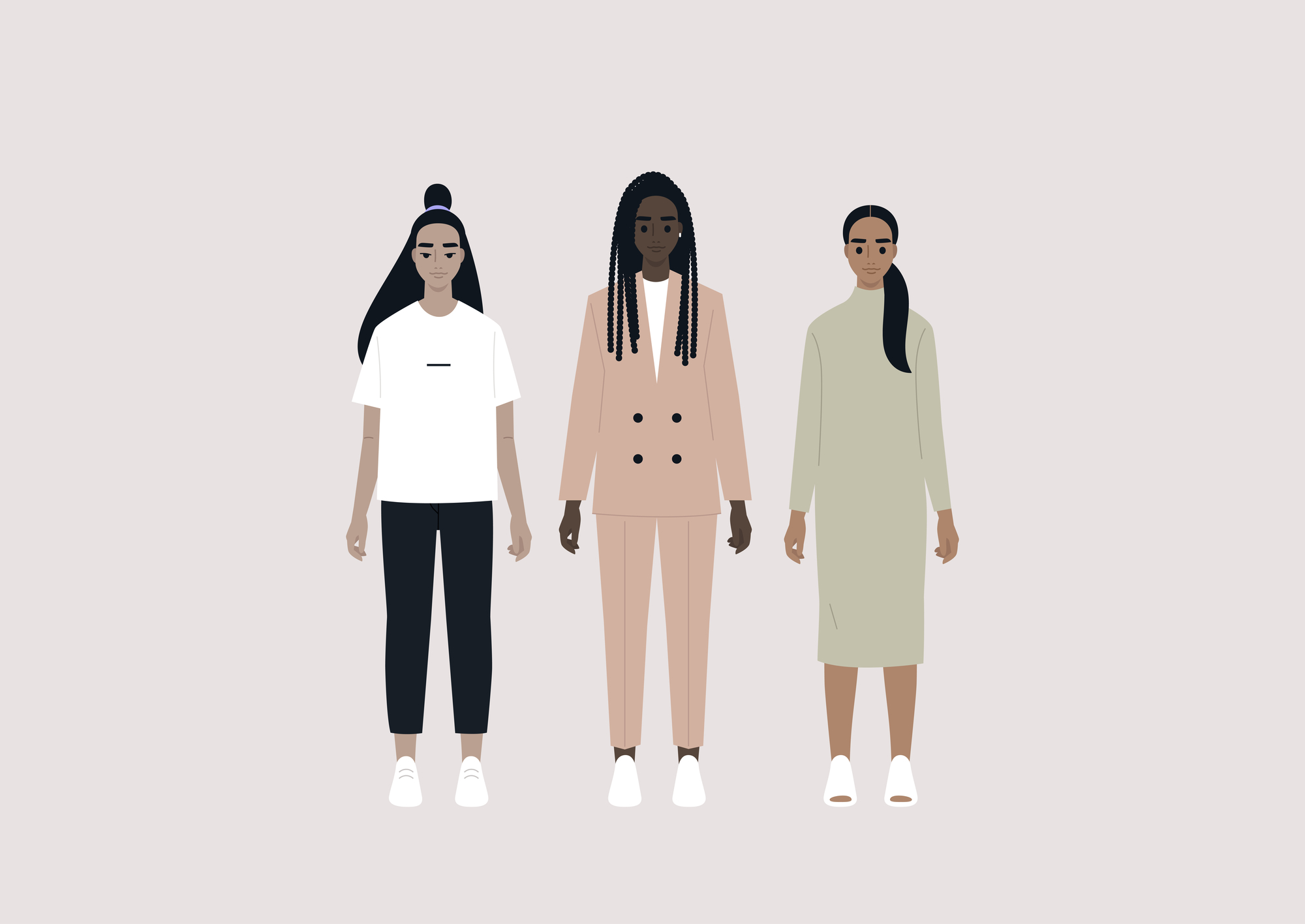 diverse group of female characters wearing different outfits stock illustration