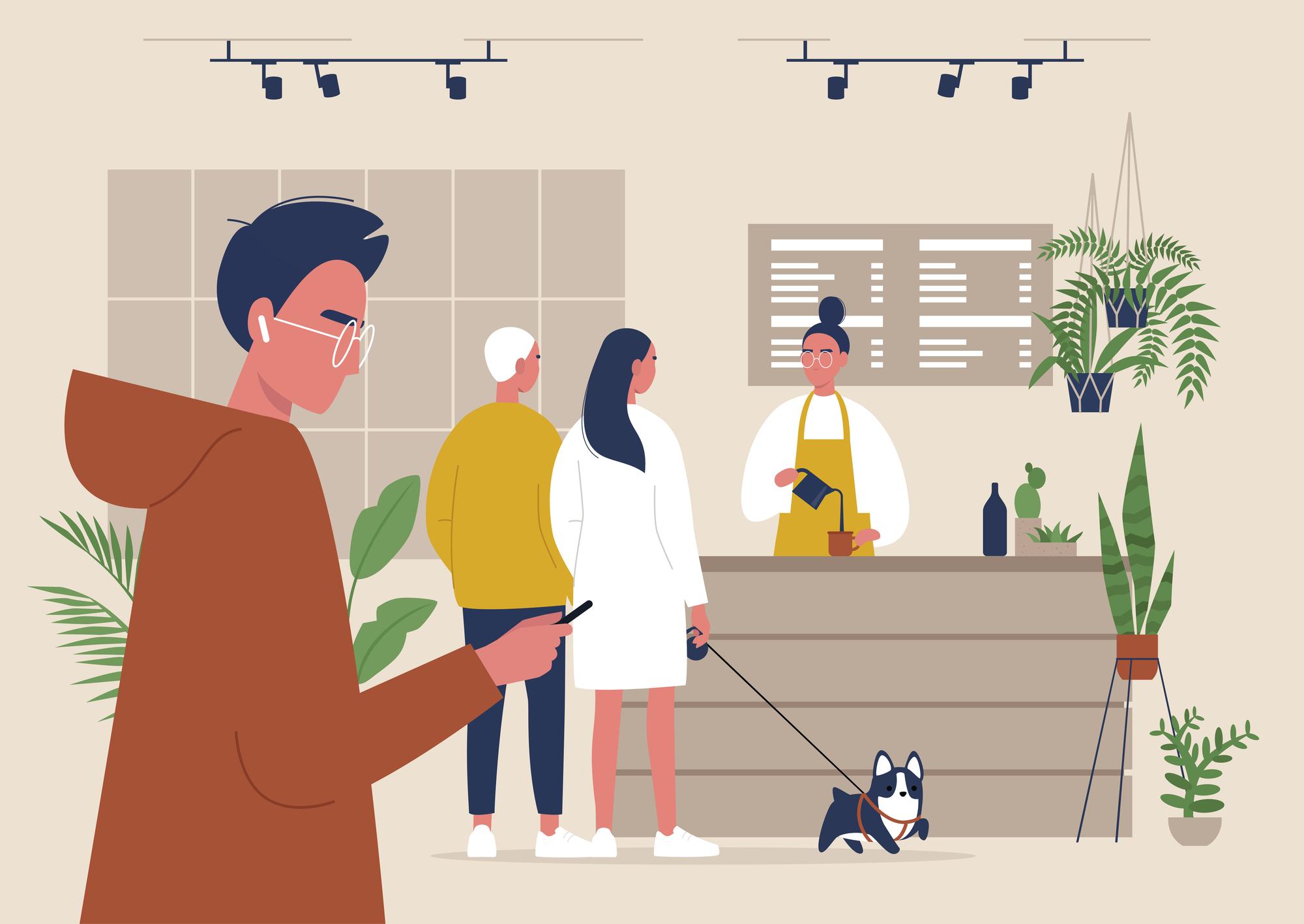modern coffeeshop stock illustration