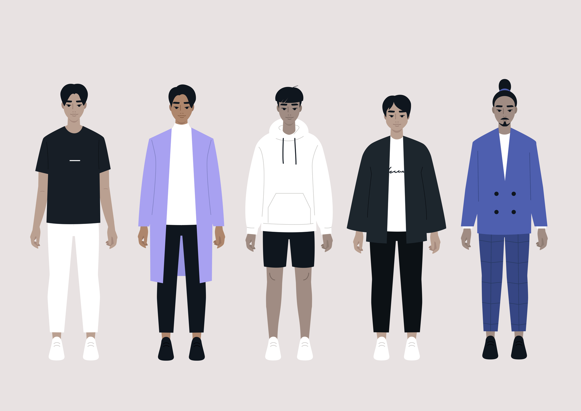 A set of Asian male characters wearing different outfits: stock illustration