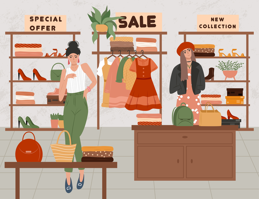 stock illustration shopping store sales women