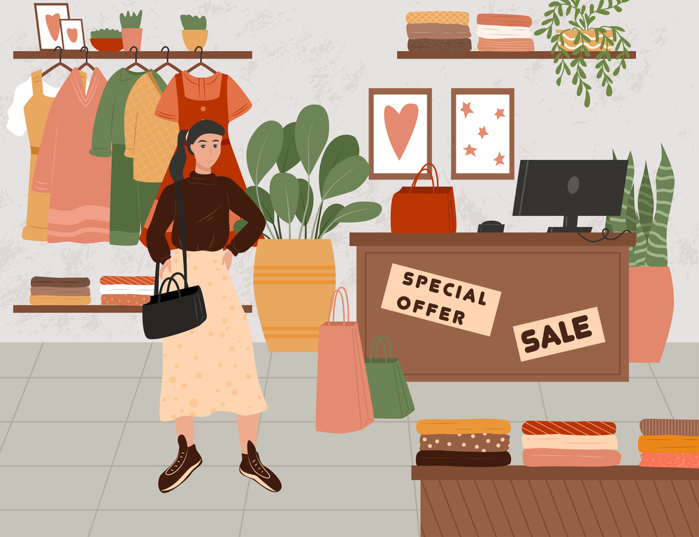 stock illustration fashion store sales woman shopping