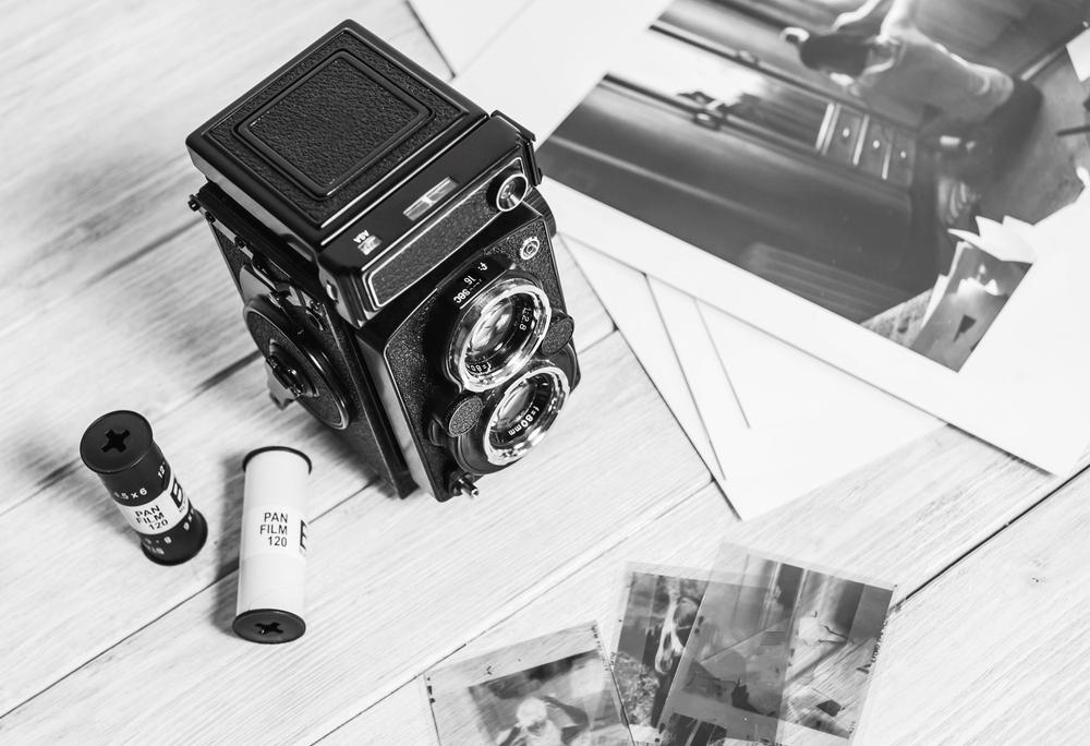 stock photo black and white retro camera