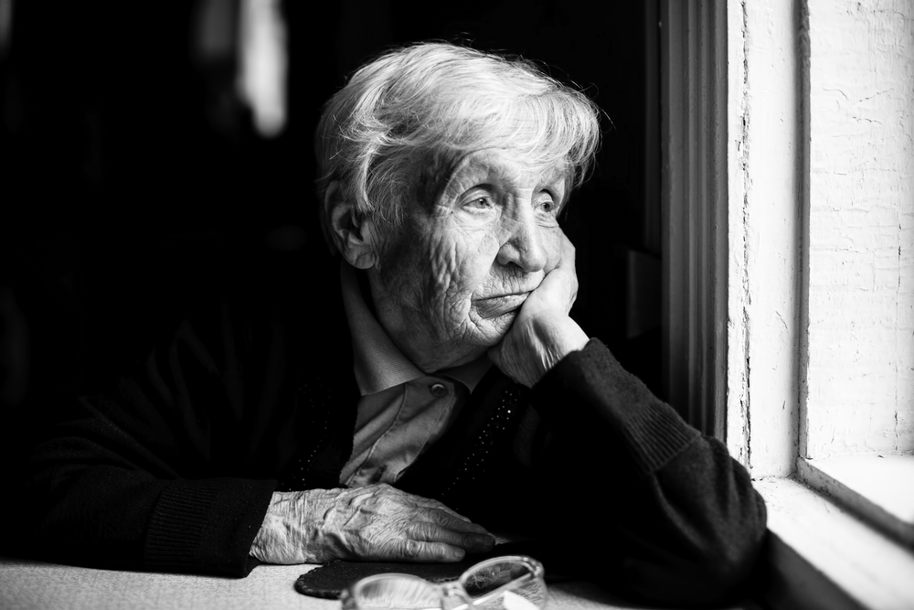 stock photo black and white old woman