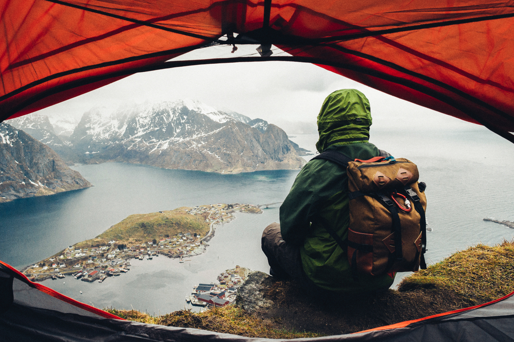 travel photography stock photo camp mountains lake view