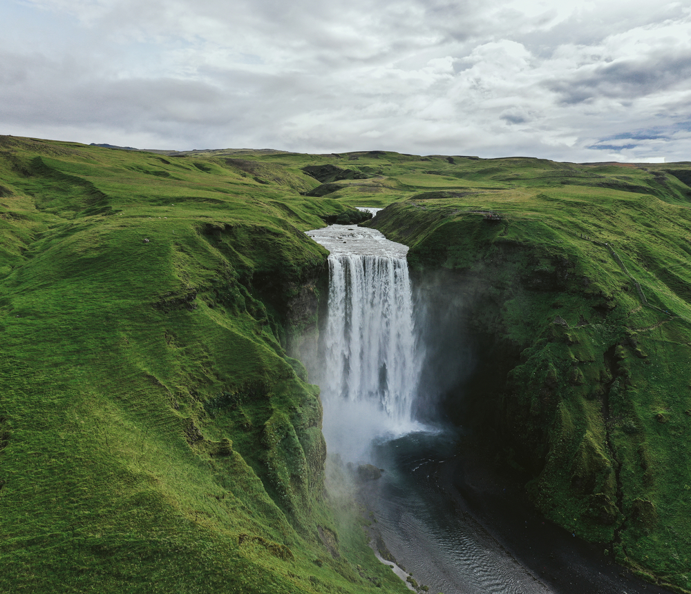 travel photography stock photo waterfall Iceland mountains