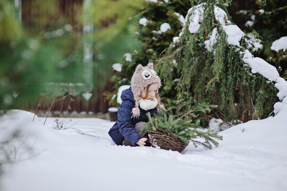 stock photo christmas girl snow