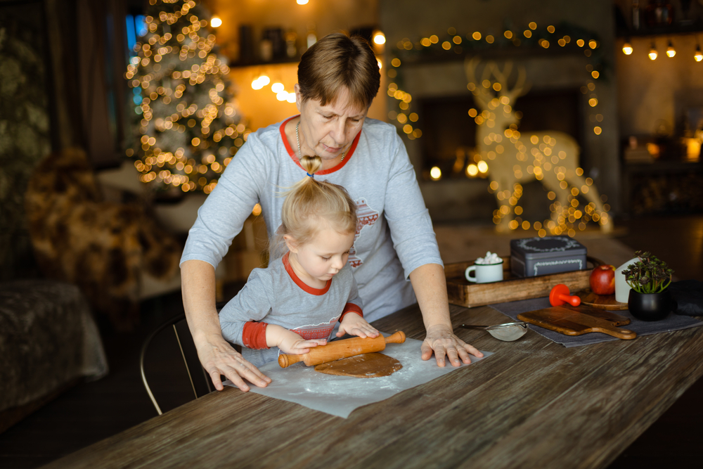 stock photo christmas cooking grandmother child