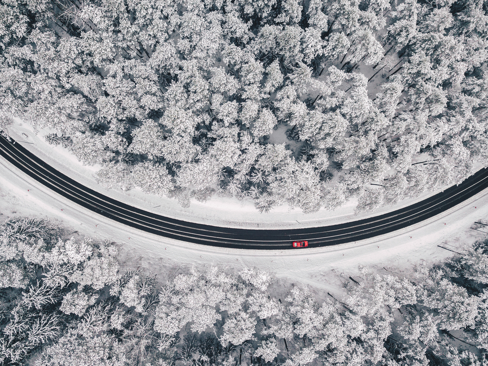 stock photo winter road aerial