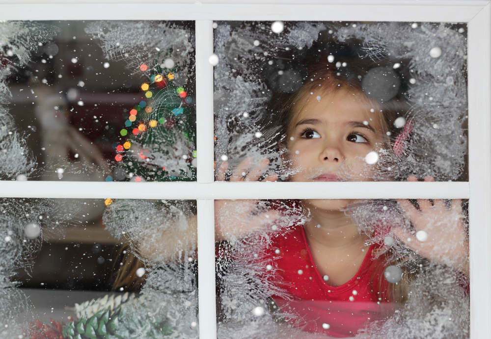 stock photo christmas child window