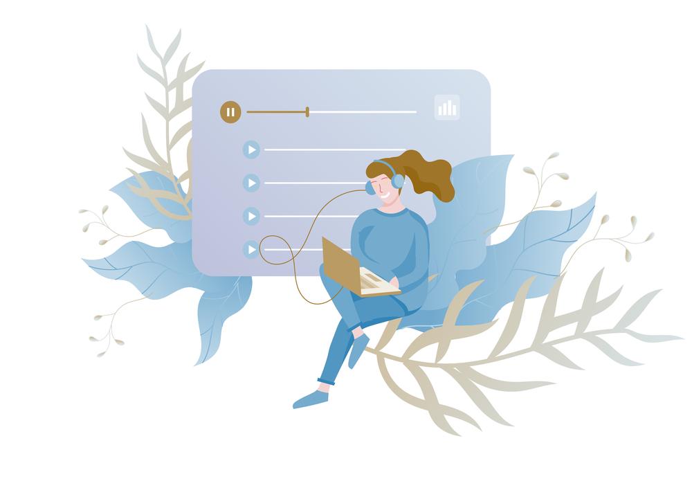 stock illustration music dance computer girl