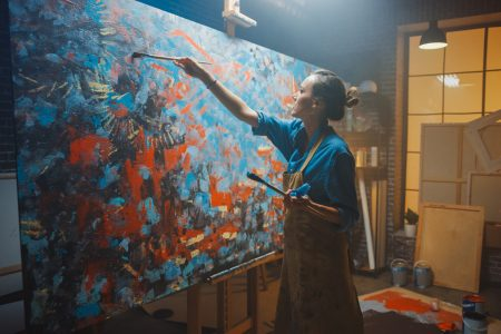 Talented Female Artist Works on Abstract Oil Painting, Using Pai