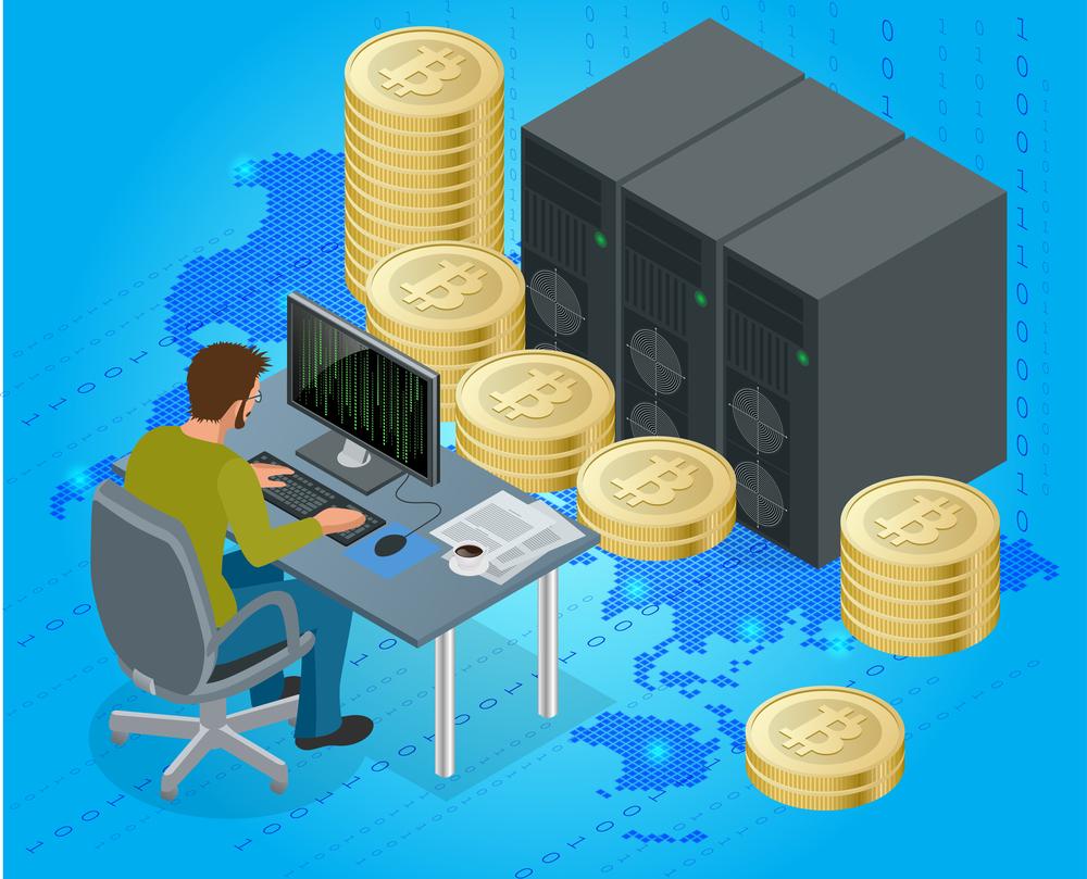stock illustration 3D man bitcoin
