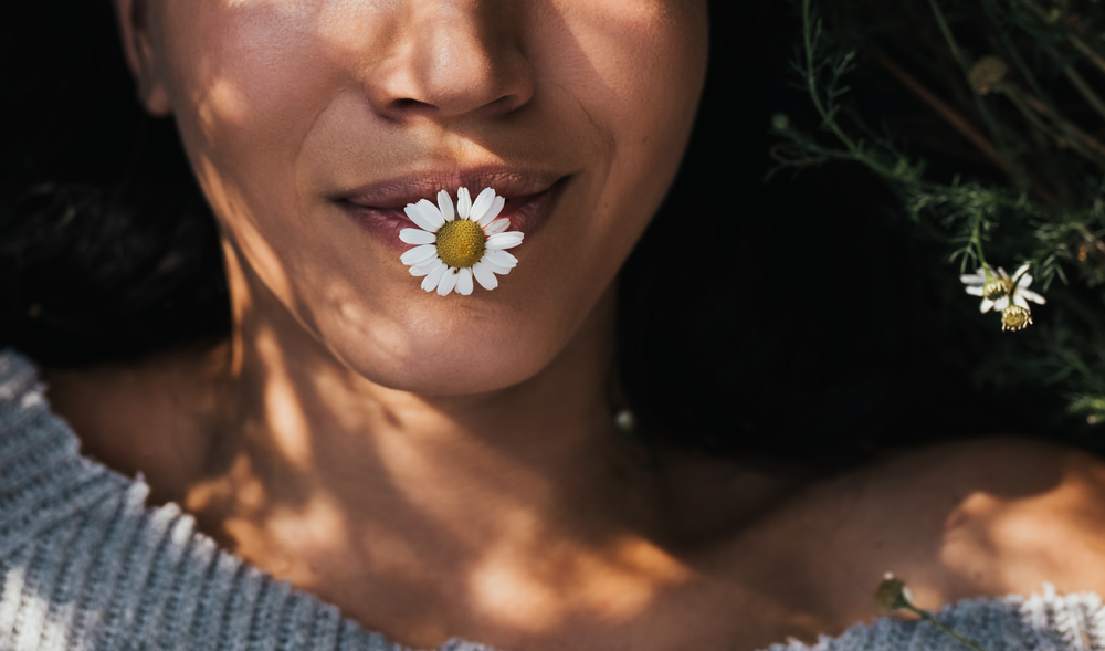 stock photo woman face flower