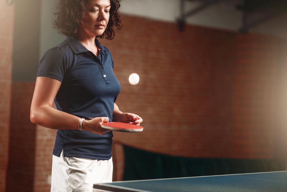 stock photo sport table Tennis ball player