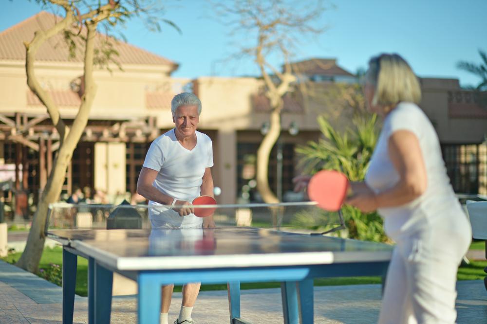 stock photo sport table Tennis seniors
