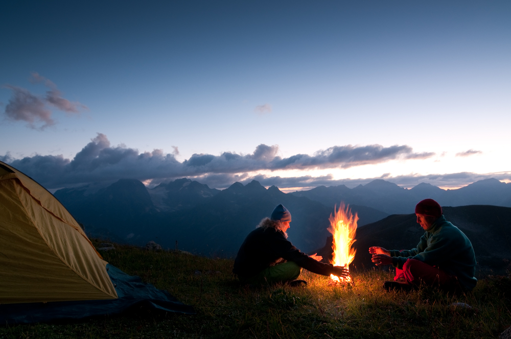 stock photo mountains camping fire