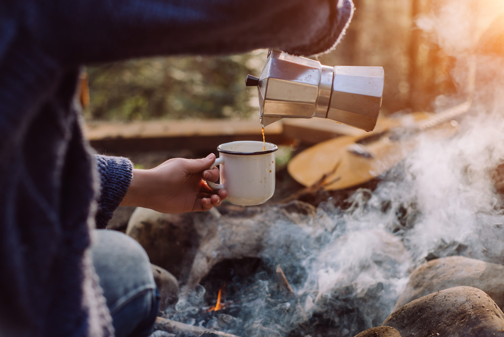 stock photo coffee outdoor camping