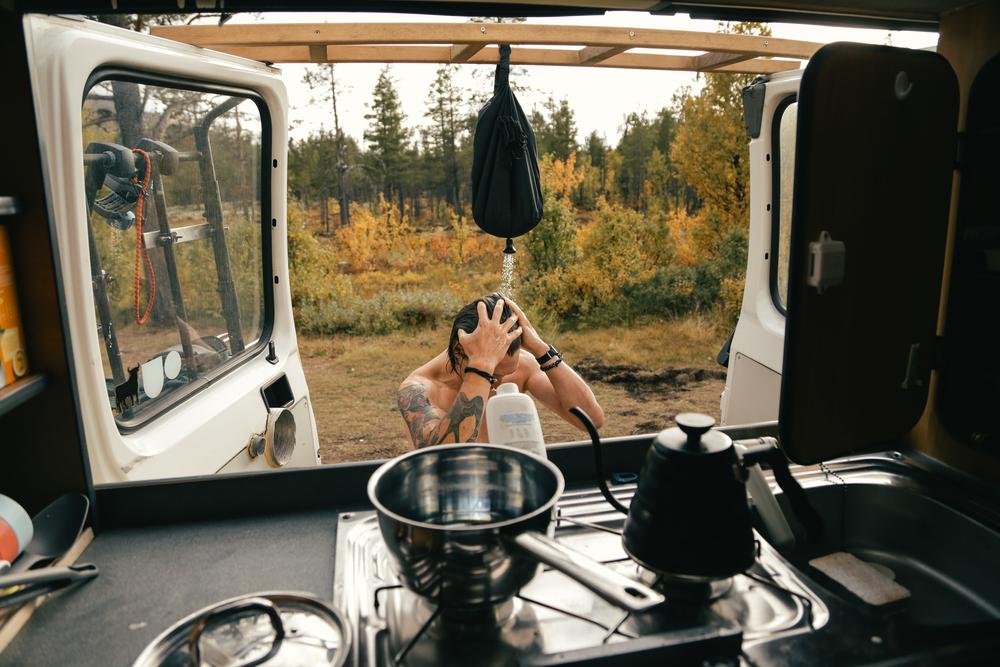 stock photo camper van forest