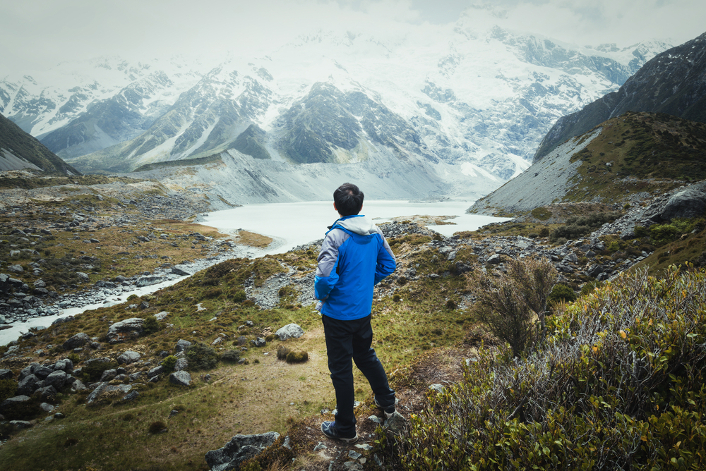 stock photo mountains traveler