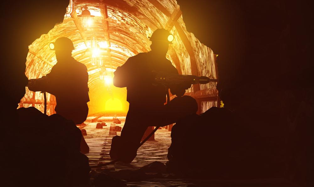stock photo industrial miner