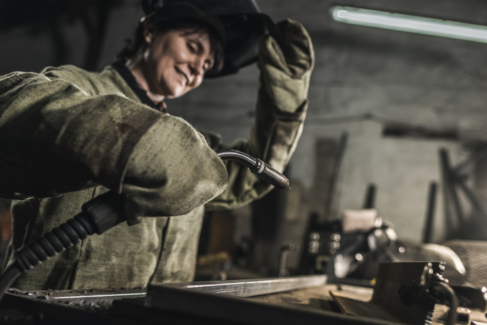 stock photo industrial woman worker