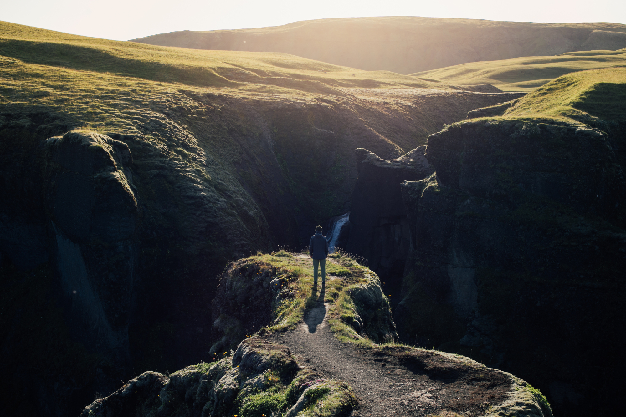 Man alone with nature stock photography