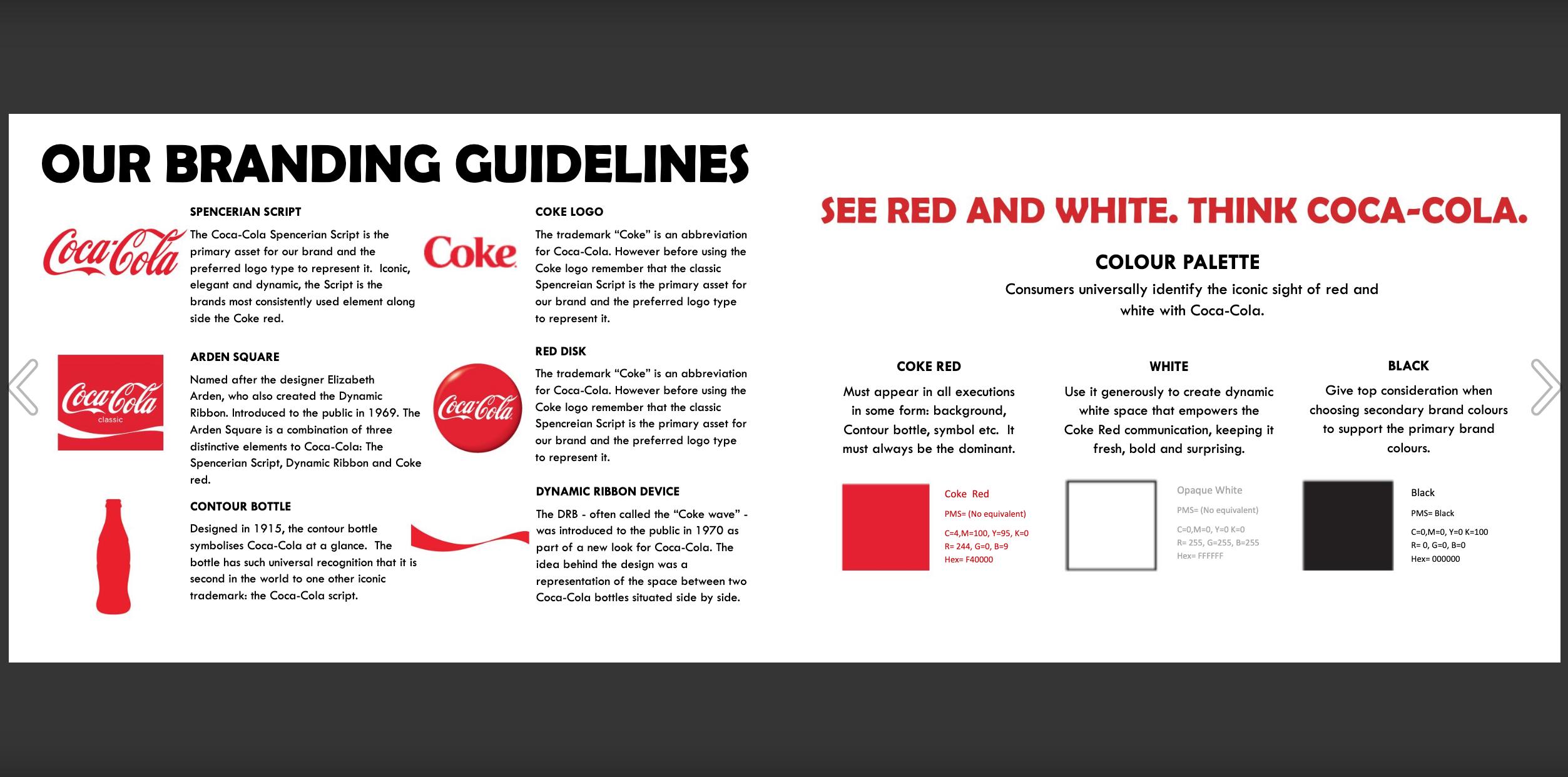Coca cola Brand Guidelenes example