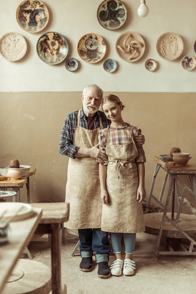 stock photo family pottery craft workshop