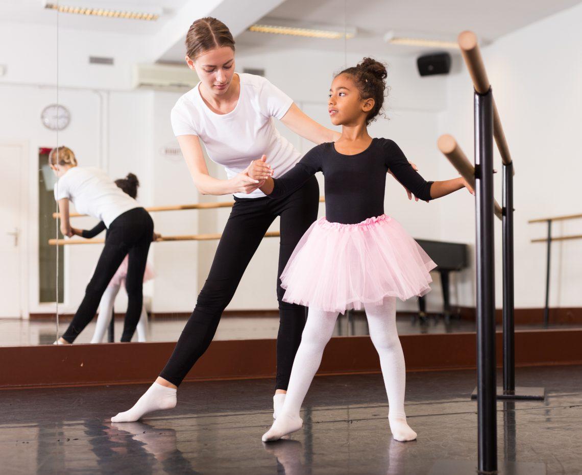 Ballet class for children stock photo