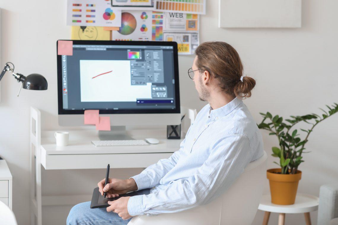 Male designer working stock photo