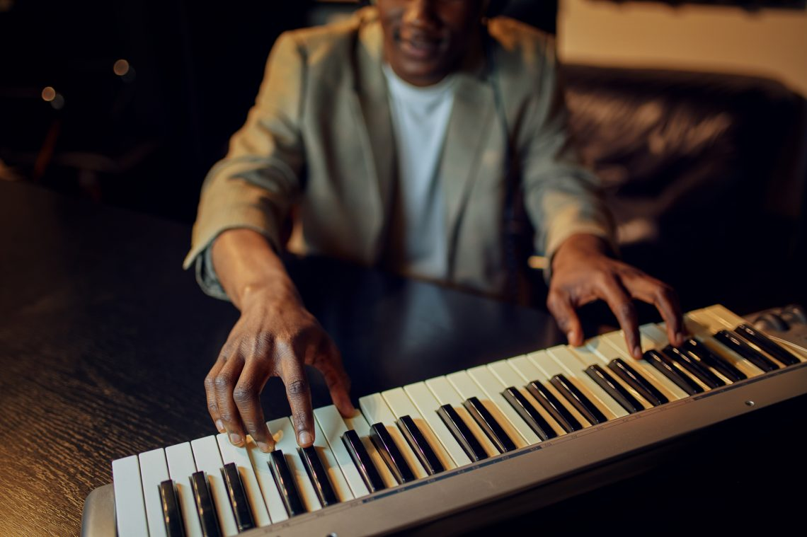 African American pianist stock photo