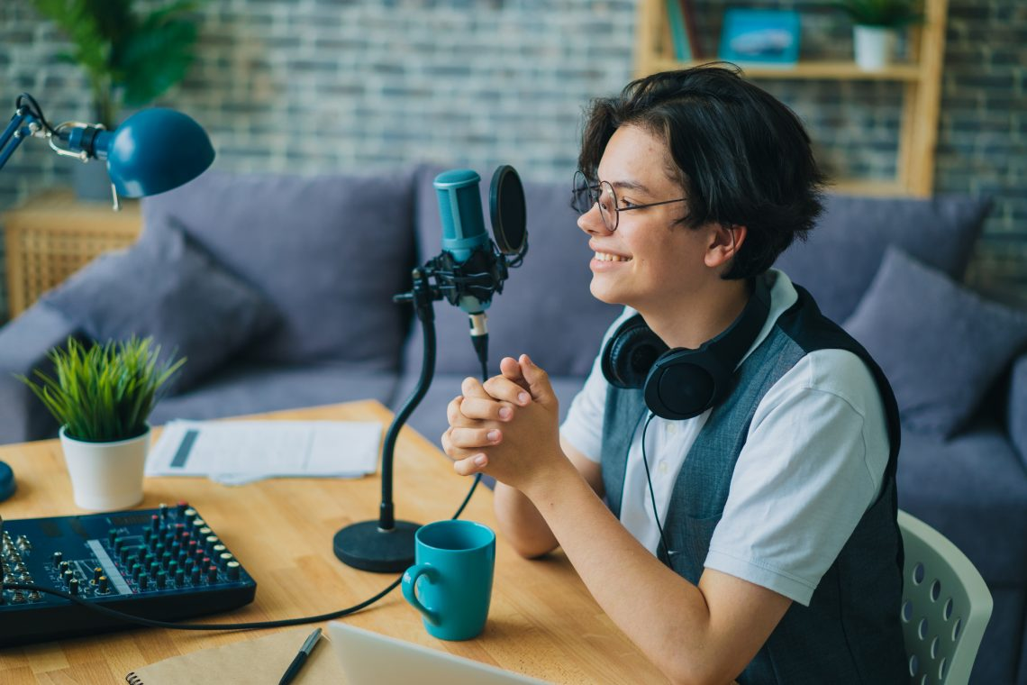 Male podcaster stock photo