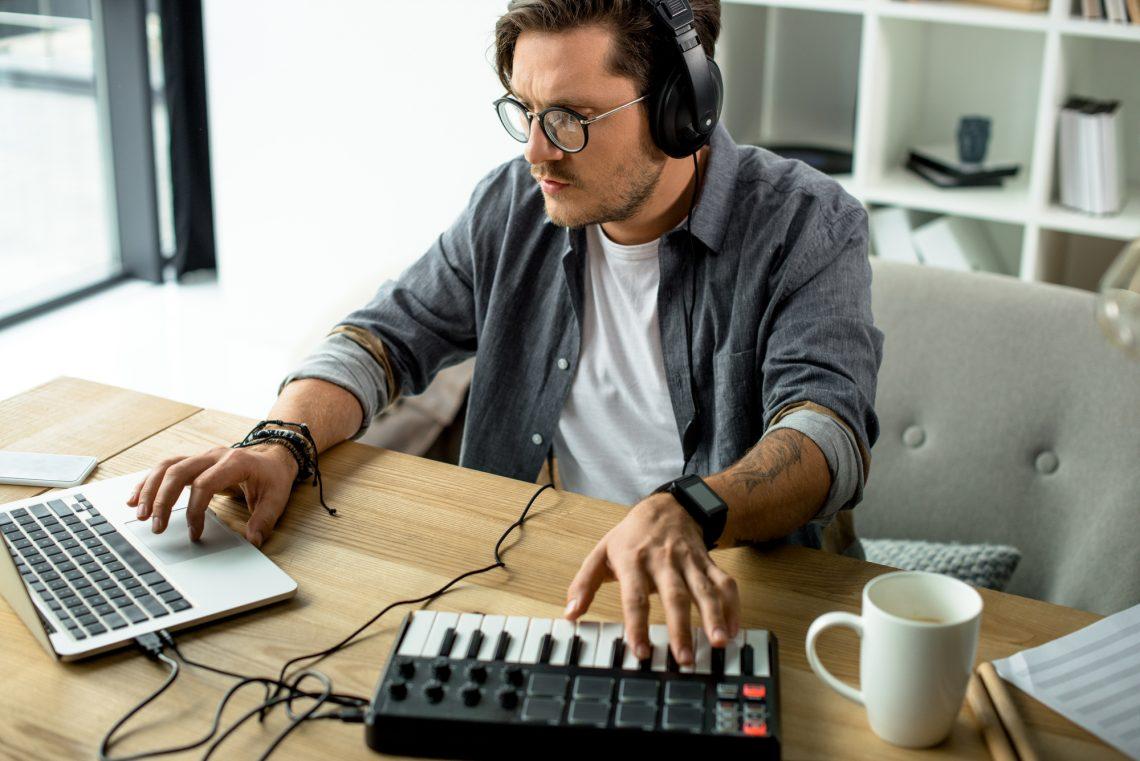 Male sound editor stock photo