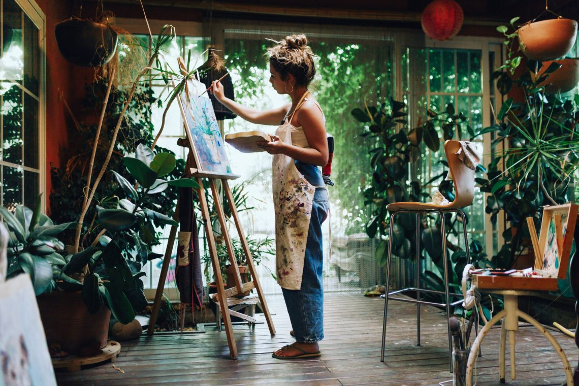 Female artist studio stock photo