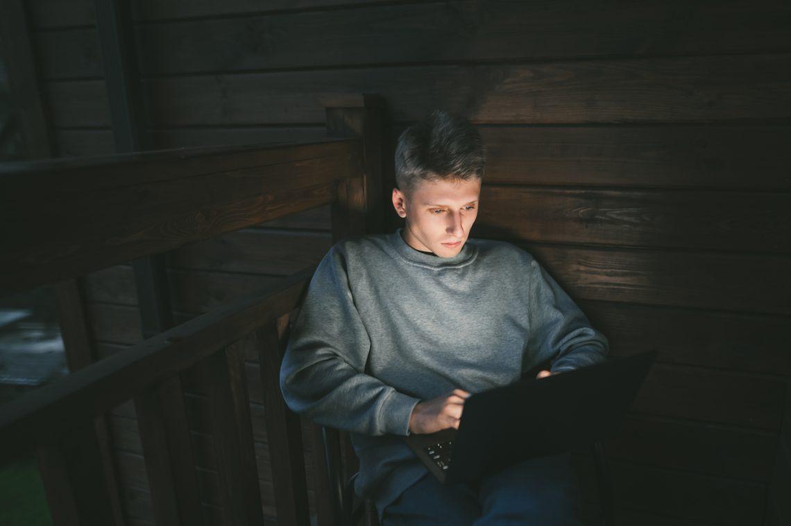 Male digital nomad stock photo